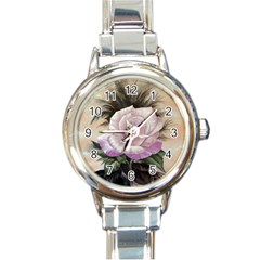 Pink Rose Round Italian Charm Watch by ArtByThree