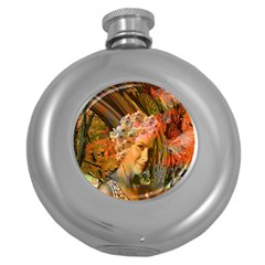 Autumn Hip Flask (round) by icarusismartdesigns