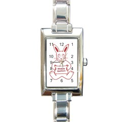 Cute Bunny Happy Easter Drawing I Rectangular Italian Charm Watch by dflcprints