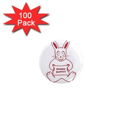 Cute Bunny Happy Easter Drawing I 1  Mini Button Magnet (100 Pack) by dflcprints