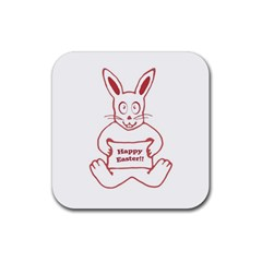 Cute Bunny Happy Easter Drawing I Drink Coaster (square) by dflcprints