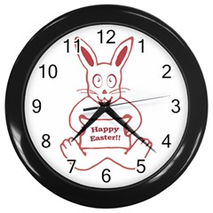 Cute Bunny Happy Easter Drawing I Wall Clock (black) by dflcprints