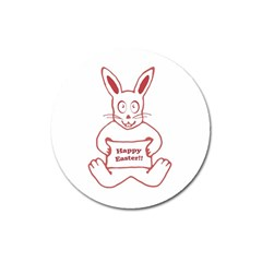 Cute Bunny Happy Easter Drawing I Magnet 3  (round) by dflcprints