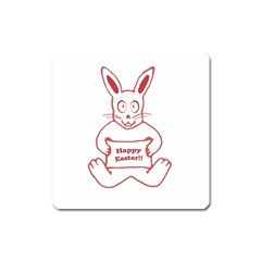Cute Bunny Happy Easter Drawing I Magnet (square) by dflcprints