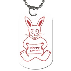Cute Bunny Happy Easter Drawing I Dog Tag (one Sided) by dflcprints