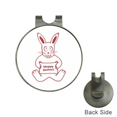 Cute Bunny Happy Easter Drawing I Hat Clip With Golf Ball Marker by dflcprints