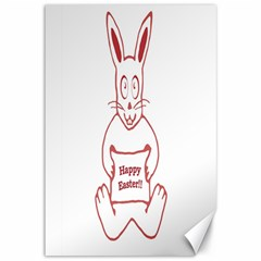 Cute Bunny Happy Easter Drawing I Canvas 12  X 18  (unframed)