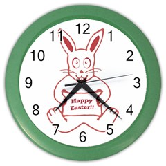 Cute Bunny Happy Easter Drawing I Wall Clock (color) by dflcprints