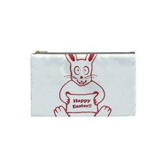 Cute Bunny Happy Easter Drawing I Cosmetic Bag (small) by dflcprints