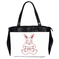 Cute Bunny Happy Easter Drawing I Oversize Office Handbag (two Sides) by dflcprints