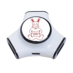 Cute Bunny Happy Easter Drawing I 3 Port Usb Hub by dflcprints