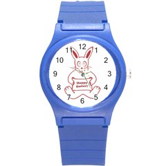 Cute Bunny Happy Easter Drawing I Plastic Sport Watch (small) by dflcprints