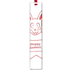 Cute Bunny Happy Easter Drawing I Large Bookmark by dflcprints