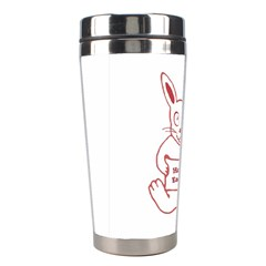 Cute Bunny Happy Easter Drawing I Stainless Steel Travel Tumbler by dflcprints