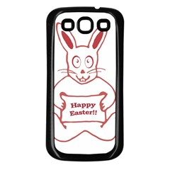 Cute Bunny Happy Easter Drawing I Samsung Galaxy S3 Back Case (black) by dflcprints