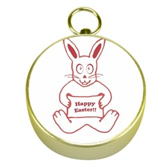 Cute Bunny Happy Easter Drawing I Gold Compass by dflcprints