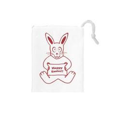 Cute Bunny Happy Easter Drawing I Drawstring Pouch (small) by dflcprints