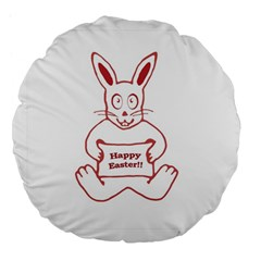 Cute Bunny Happy Easter Drawing I 18  Premium Flano Round Cushion  by dflcprints