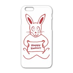 Cute Bunny Happy Easter Drawing I Apple Iphone 6 White Enamel Case by dflcprints