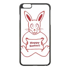 Cute Bunny Happy Easter Drawing I Apple Iphone 6 Plus Black Enamel Case by dflcprints