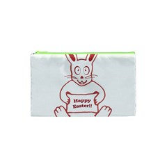 Cute Bunny Happy Easter Drawing I Cosmetic Bag (xs) by dflcprints