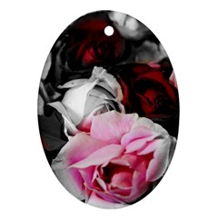 Black And White Roses Oval Ornament by bloomingvinedesign