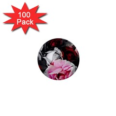 Black And White Roses 1  Mini Button Magnet (100 Pack) by bloomingvinedesign