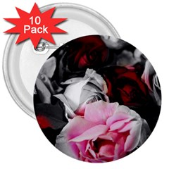 Black And White Roses 3  Button (10 Pack) by bloomingvinedesign