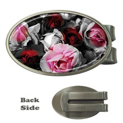 Black And White Roses Money Clip (oval) by bloomingvinedesign