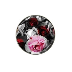 Black and White Roses Golf Ball Marker 4 Pack (for Hat Clip) by bloomingvinedesign
