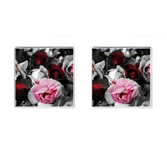 Black and White Roses Cufflinks (Square) by bloomingvinedesign