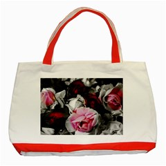 Black And White Roses Classic Tote Bag (red) by bloomingvinedesign