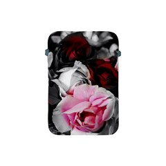 Black And White Roses Apple Ipad Mini Protective Sleeve by bloomingvinedesign