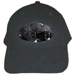 Black And White Spider Webs Black Baseball Cap by bloomingvinedesign