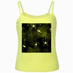 Black And White Spider Webs Yellow Spaghetti Tank by bloomingvinedesign