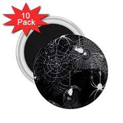 Black And White Spider Webs 2 25  Button Magnet (10 Pack) by bloomingvinedesign
