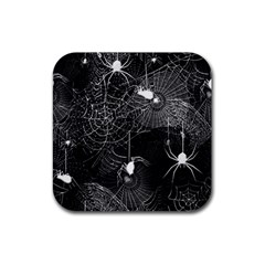 Black and White Spider Webs Drink Coaster (Square) by bloomingvinedesign