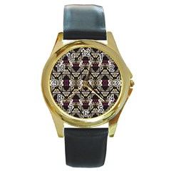 Abstract Geometric Modern Seamless Pattern Round Leather Watch (gold Rim)  by dflcprints