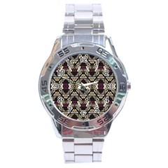 Abstract Geometric Modern Seamless Pattern Stainless Steel Watch by dflcprints