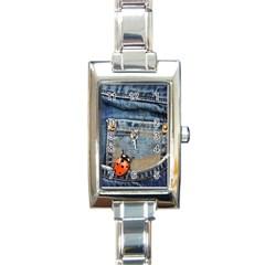 Blue Jean Lady Bug Rectangular Italian Charm Watch by TheWowFactor