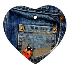 Blue Jean Lady Bug Heart Ornament by TheWowFactor