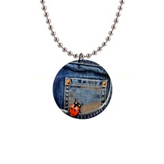Blue Jean Lady Bug Button Necklace by TheWowFactor