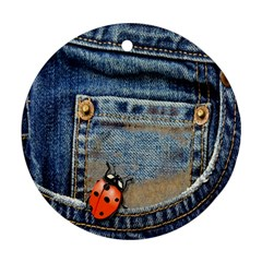 Blue Jean Lady Bug Round Ornament (two Sides) by TheWowFactor