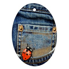 Blue Jean Lady Bug Oval Ornament (two Sides) by TheWowFactor