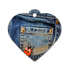 Blue Jean Lady Bug Dog Tag Heart (one Sided)  by TheWowFactor