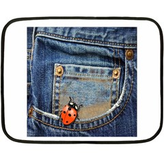 Blue Jean Lady Bug Mini Fleece Blanket (two Sided) by TheWowFactor