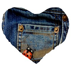 Blue Jean Lady Bug 19  Premium Heart Shape Cushion by TheWowFactor