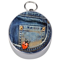 Blue Jean Lady Bug Silver Compass by TheWowFactor