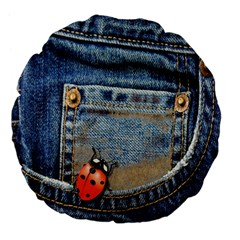 Blue Jean Lady Bug 18  Premium Flano Round Cushion  by TheWowFactor