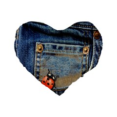 Blue Jean Lady Bug 16  Premium Flano Heart Shape Cushion  by TheWowFactor